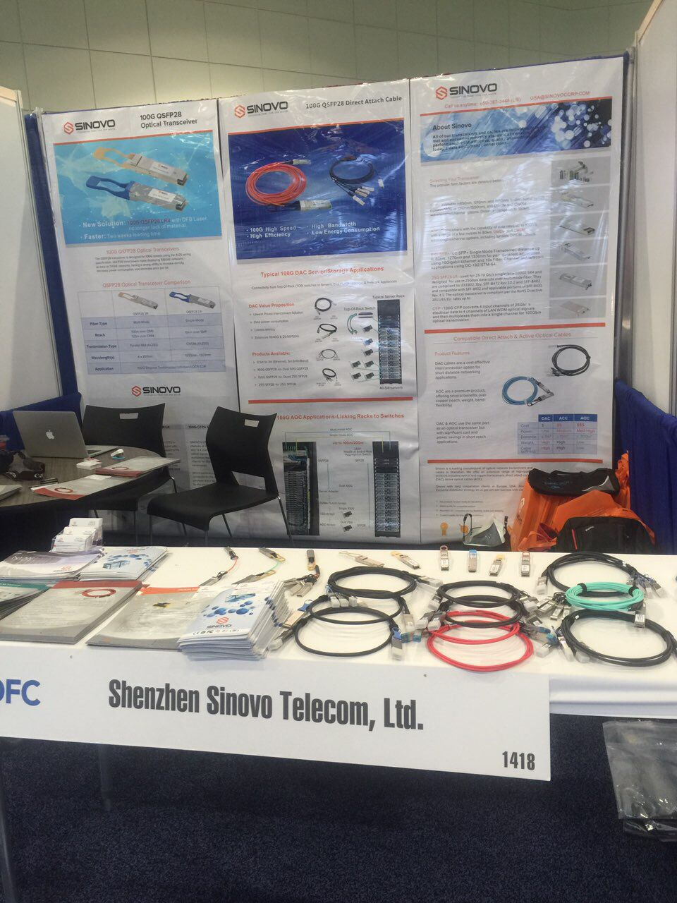 Sinovo Show 100G QSFP28 LR and Cable 2017 OFC